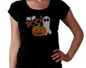 Boo Halloween RHINESTONE t-shirt tank top sweatshirt S M L XL 2XL - Bat Pumpkin Ghost