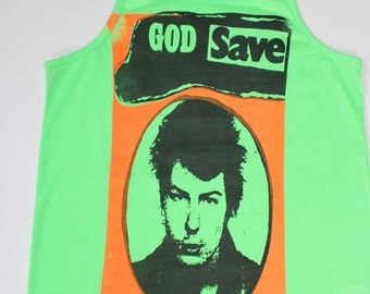 "Punk Vest-God Save Sid Vicious - Sex Pistols - Yellow / Neon Green Fitted Tank Top- Punk - Fluorescent Sex Pistols 34""-36"""