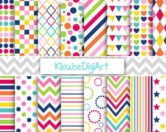 Navy, Green, Pink and Blue Rainbow Printable Digital Paper Pack with Dots, Stripes and Stars for Personal and Small Commercial Use (0055)