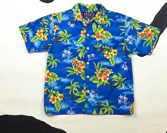90s Bright Blue Hawaiian Skater Shirt / Mesh / Surf / Grunge / Club Kid / Cyber Goth / Rave / Skater Girl / Rave / Vaporwave / Size Medium /