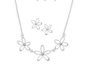 Sterling Silver Diamond Cut Flower Necklace and Earrings Set