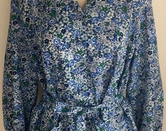 Vintage Blue Green Floral Long Sleeve Shirt Dress by Nancy Frock 1960s 70s Plus 1X 2X