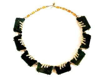 Blue Moon Bakelite Necklace Vintage Green Marbled Geometric Teal Prystal Bakelite Gold Link Necklace Signed ART