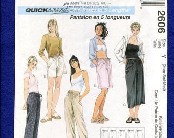 McCalls 2606 Lounging Pants Capris & Shorts Size XS S M  Uncut