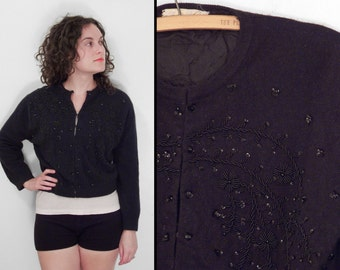 Black BEADED Cardigan 1960s Fab-Lu Sequins Angora + Lambswool Size Medium