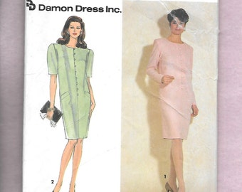 Vintage 1991 Simplicity  7370 Misses' Dress By Damon Dress Inc. With Long Or Short Sleeves, Jewel Neckline, Sizes 10 To 18, UNCUT