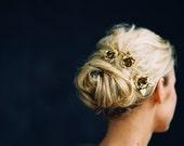 Flower Headpiece, Bridal Hair pins, Rose Hair Pins, Set of (3) -Style 4916