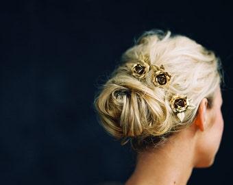Tocado de flores, horquillas de novia, pasadores de pelo rosa, juego de (3) - estilo 4916