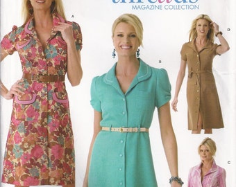 Shirtdress With Collar And Sleeve Variations Size 8 10 12 14 16 Dress Sewing Pattern 2006 Threads Collection Simplicity 4171 Plus Size