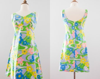 1960s Floral Mod Mini-Dress // 60s Psychedelic Groovy Dress
