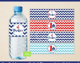 Nautical Water Bottle Labels - Sailing Water Bottle Wraps -  Nautical Birthday Bottle Labels - Emailed & Shipped Available