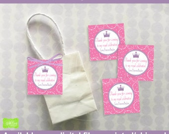 Princess Favor Tags - Princess Thank You Tags - Princess Favor Gift Tags - Purple Crown Tags - Digital and Printed Available