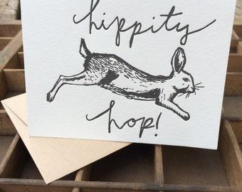 Hippity Hop Easter Rabbit Letterpress Blank Card