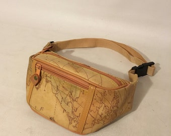 Vntage 90s Beige Map Fanny Pack Globe Travel Bag Small