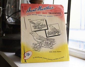 Birds Galore Pattern Aunt Martha's Hot Iron On Transfers Vintage Craft Supply Pattern 3534