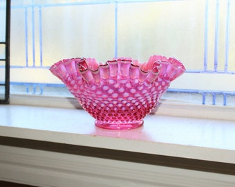 "Fenton Cranberry Opalescent Hobnail Bowl 9"" Ruffled Rim"