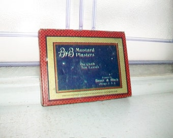 B & B Mustard Plasters Tin Vintage Bathroom Decor