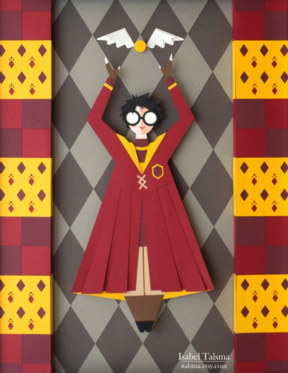 Harry Potter Quidditch Cut Paper Illustration (Fine Art Print - 8x10 inches)