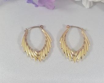 Hoop Earrings 14K Yellow Gold Vintage Shrimp Hoops