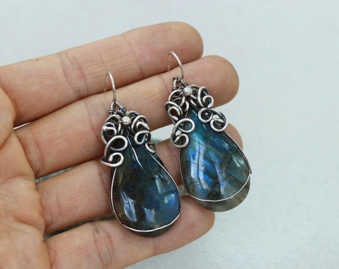Labradorite Earrings Wire Wrap Earrings Blue Drop Earrings Blue Labradorite Dangle Earrings Blue Dangle earrings Sterling Silver Earrings