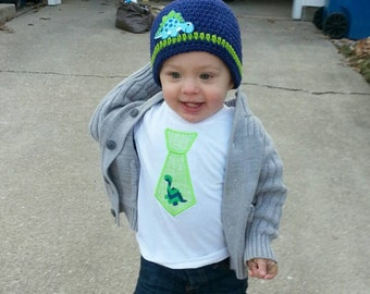 Boys - Navy Blue Lime Green Crochet Hat with Dinosaur Applique and Lime Green Applique Tie Shirt Photo Prop Made to Order
