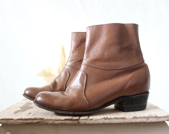 Vintage 70' Leather Ankle Boots 8