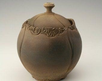 rustic pottery jar, ceramic lidded jar with carving, pottery lidded jar, stoneware jar, ceramic canister, unique cover jar, antique jar