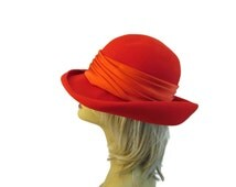 Red Fedora Hat Floppy Wool Hat Women Wide Brim Hat Wool Hats Wool Felt Wide Brim Hats For Women Glenover Felt Hat Vintage Hats