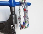 Bicycle Jewelry , Spoke Nipple and Bead Bracelet , Upcycled Jewelry , Bicycle Accessories , Sports Jewelry
