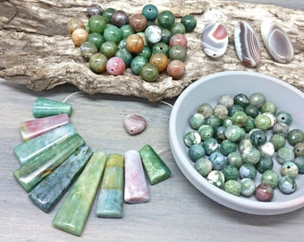 Moss Agate Bead Mix - green gemstone bead mix - rounds, faceted, stick beads - agate slice beads