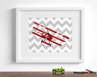 Vintage airplane art - Fokker Dr 1 -Red Barron triplane - pick your colors - WWI aircraft, boys room wall art retro childrens art prints