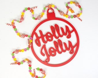 Vintage Style Christmas Sign - Retro Style Holiday Decor - Holly Jolly Wooden Cutout Sign - Mid Century Christmas Decoration Style