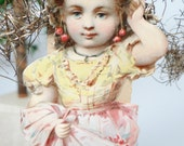 Early 1900's Victorian Die Cut and Tinsel Scrap Christmas Ornament of Girl in Pink Apron