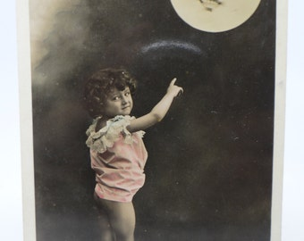 Antique Early 1900's Full Moon Photograph Postcard, Portugal Pleine Lune