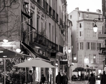 France Photography - Aix-en-Provence at Night, French decor, Warm Black and White, Fine Art Photograph, Urban Home Decor