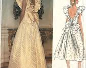 PATTERN Vogue 1355 Statement dress frill sleeves plunge back tie bow detail drop waist full skirt Size 12 Bellville Sassoon (uncut)
