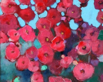 "Abstract Floral Painting on Canvas, Flowers, Contemporary, ""Red Hollyhocks"" 12x24"