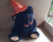 Vintage Halloween Plush Bear,10x6x8in,Soft n Fluffy,Wearing a Orange Witch Hat Complete with Moons and Stars and an Orange Bow to Match,