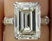 HUGE 6.87ct Emerald Cut Three Stone Diamond Engagement Wedding Platinum Ring, EGL USA