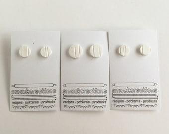 White Monochrome Stripe Stud Earrings