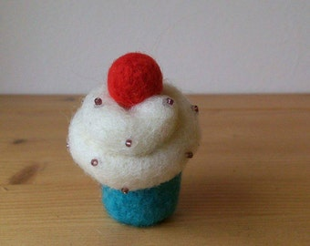 FREE SHIPPING Cupcake muffin needle felted handmade home decor gift under 10