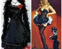 Vintage '50s Burlesque Costume Black Satin Dress Saloon Girl Can Can Dancer Vaudeville Performer Full Circle Sequin Lace Gown Sz XS 2 3 4