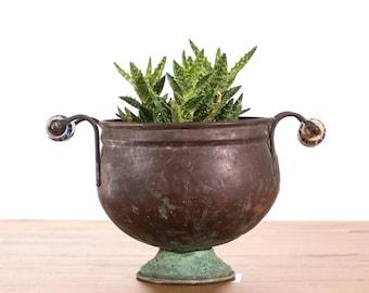 Rustic Copper Pot with Ceramic Delft Handles