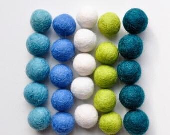 Lagoon Felt Ball Pack, 25 Pieces, Wool Felt Balls