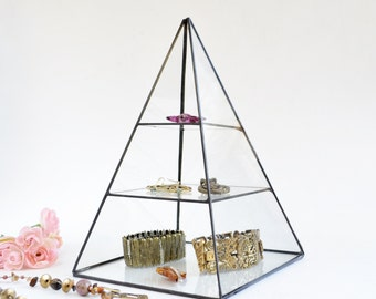 Glass Box Pyramid Display Box Gift For Her Stained Glass