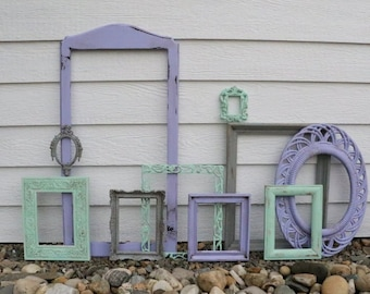 Set of 10 Upcycled Frames - Mint, Lavender, Gray - Wall Gallery - Nursery -Wedding -Vintage Frames - Mint Green and Lilac Scatter Frames