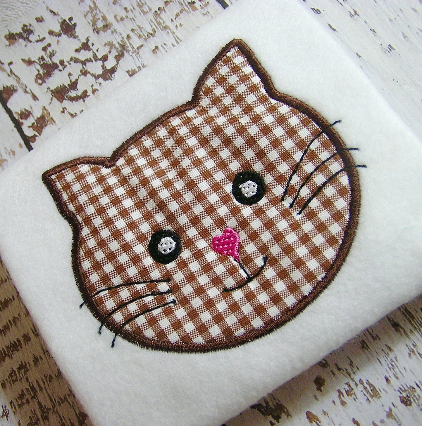 Sale off appliqué kitty face machine embroidery design