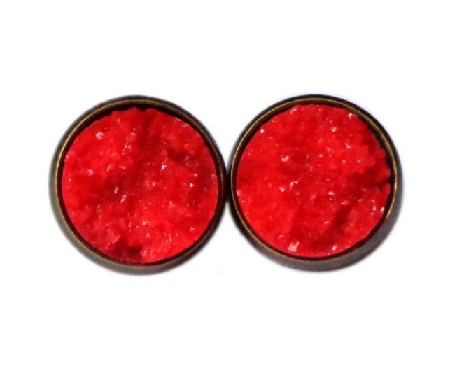Ruby Red Chunky Druzy Stud Earrings | Post Setting