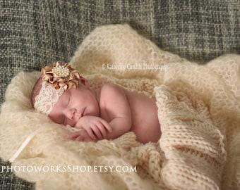 The Vintage Sparkle Headband - Natural Tan & Ivory Satin and Lace Baby Girl Headbands - Vintage Style Newborn Photo Prop Headband