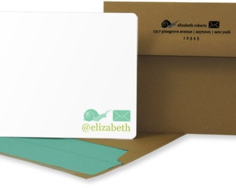 Snail Mail Personalized Stationery: Set of 25 Personalized Blank Cards. Flat Card. Custom Colors. Kraft Envelopes.  Aqua and White.
